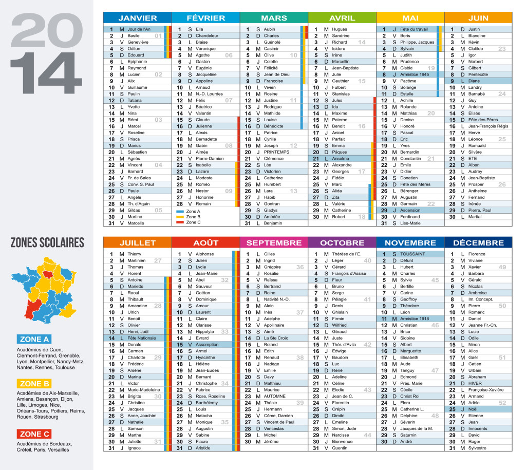 Calendrier 2014 avec carte des zones scolaires et acad mies saint victor de malcap - Calendrier 2015 vacances scolaires ...